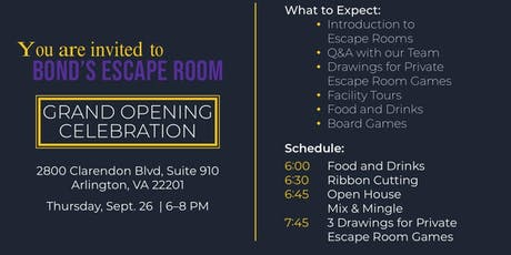 Bond's Escape Room Grand Opening tickets