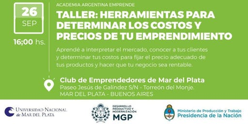"""AAE en Club de Emprendedores- """"Taller de Estimación de costos y fijación de precios"""" Mar del Plata, Prov. Buenos Aires."""