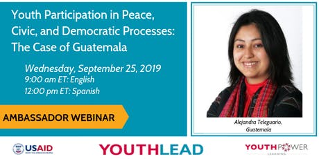 Webinar: Youth Participation in Peace, Civic, and Democratic Processes tickets