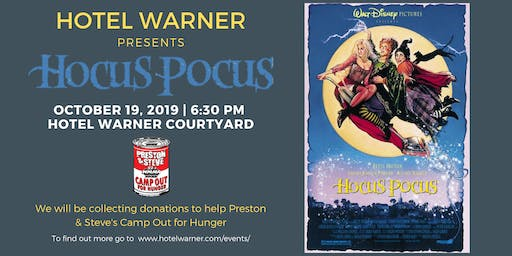 Hotel Warner presents HOCUS POCUS, an outdoor family movie