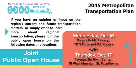 Public Open House for the 2045 MTP and Connect NWA Plan tickets