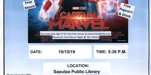 Free Movie Night @ The Library - Captain Marvel