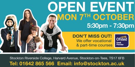 Stockton Riverside College open evening tickets