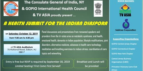 The Consulate General of India NY,GOPIO & TV ASIA present: A Health Summit  tickets
