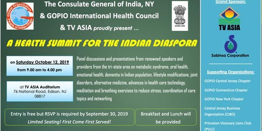 The Consulate General of India NY,GOPIO & TV ASIA present: A Health Summit