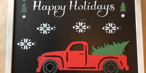 3-D Christmas Tree Pick Up Truck Chalkboard