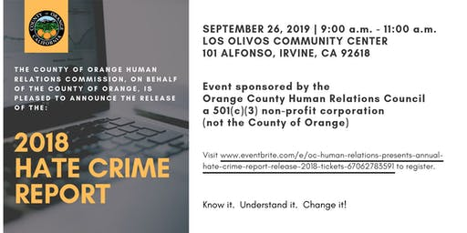 OC Human Relations presents: Annual  Hate Crime Report Release - 2018