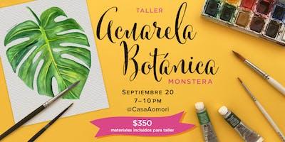 Principiantes: Taller Acuarela Botánica (Hoja Monstera)