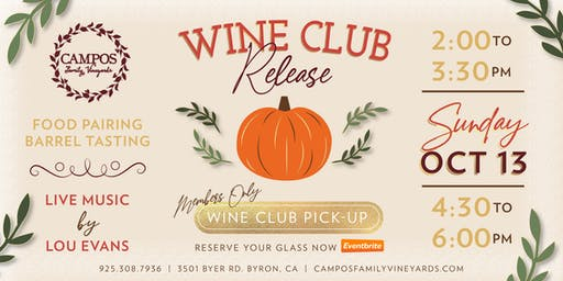 Fall Wine Club Release Party - Wine Club Members Only!