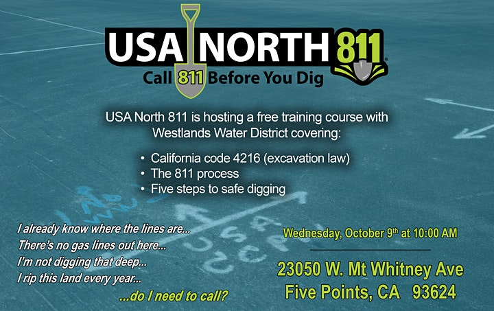 Westlands Water District - USA North 811 FREE training seminar image