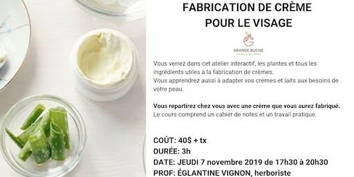 Cours: Fabrication de crème naturelle pour le visage