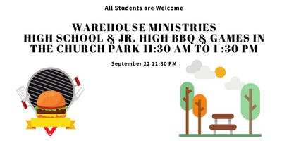 Warehouse Ministries High School and Junior High BBQ in the Church Park