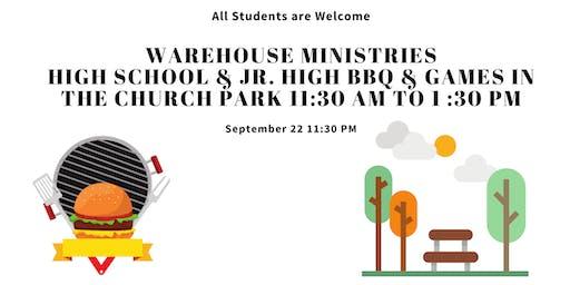Warehouse Ministries High School and Junior High BBQ in the Church Park