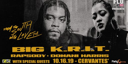 """BIG K.R.I.T.  """"From The South With Love"""" 2019 Tour w/Rapsody, Domani Harris"""