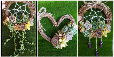 Mini Succulent Dreamcatcher and Heart Wreath Workshop