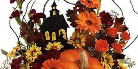 DIY Spooky pumpkin: Halloween themed arrangement in real pumpkin tickets
