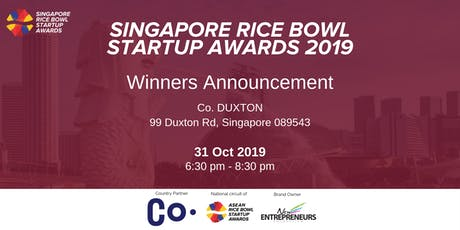 Singapore Rice Bowl Startup Awards 2019 - Winner Announcment tickets