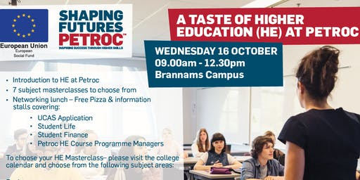 A Taste of Higher Education (HE) at Petroc
