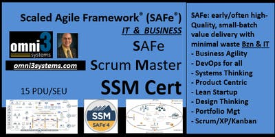 SSM-Cert-SAFe-Scrum Master~Bloomington-Illinois-15 PDUs