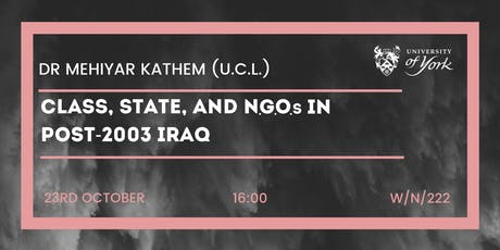 Class, State, and NGOs in post-2003 Iraq tickets