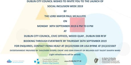 Launch of Dublin City Council's Social Inclusion Week 2019 tickets