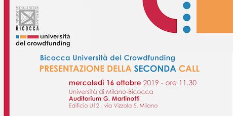 Bicocca Università del Crowdfunding, presentazione della seconda call tickets