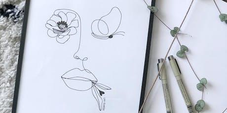 Atelier portrait en line drawing billets