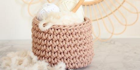 Atelier panier en crochet billets