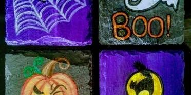 Halloween Slate Coaster Paint Night