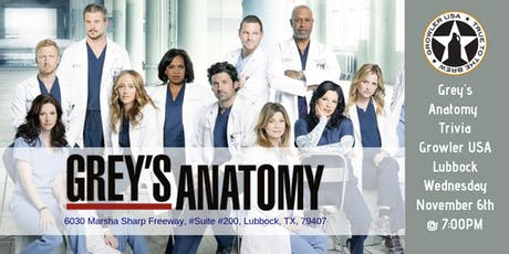 Grey's Anatomy Trivia at Growler USA Lubbock tickets