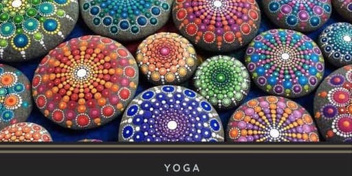 Self Indulge Sunday Yoga, Mandala Stone Painting, Coffee