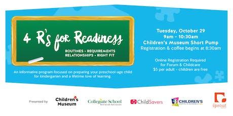 4 R's for Readiness: Preparing Preschool-Age Children for Kindergarten tickets