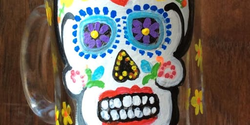 Sugarskull Wine Glass Coffee Mug or Candle holder Paint Class