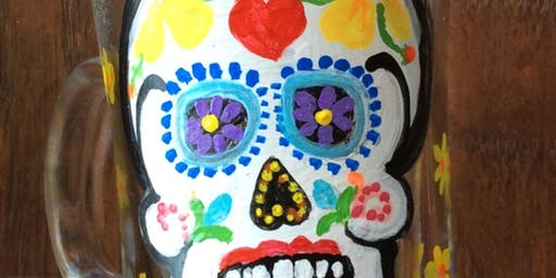 Sugarskull Wine Glass Coffee Mug or Candleholder Paint Class at Don Patrons