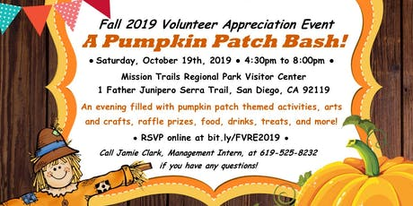 """Fall 2019 Volunteer Recognition Event - """"A Pumpkin Patch Bash!"""" tickets"""