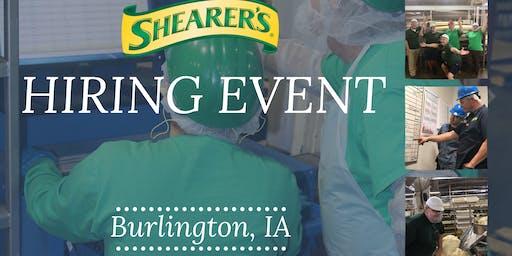 Shearer's Snacks Skilled Hourly Hiring Event - Warehouse, Operators, Logistics, Sanitation, Mixing, Maintenance, & More!!