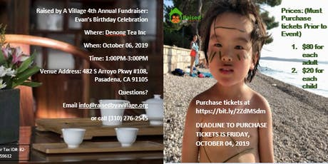 Raised By A Village Fourth Annual Fundraiser - Evan's Birthday tickets