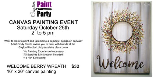 Welcome Berry Wreath -- Saturday October 26   2 pm