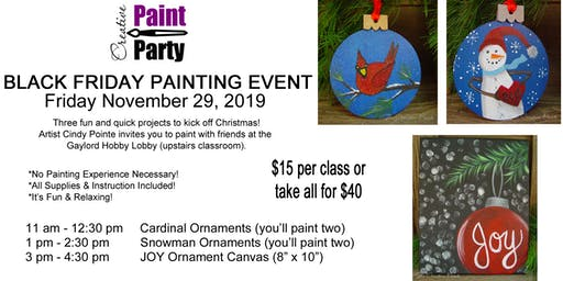 Black Friday Painting Event -- Cardinal Ornaments  11 am