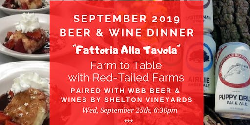 September Beer and Wine Dinner: Farm to Table with Red-Tailed Farms