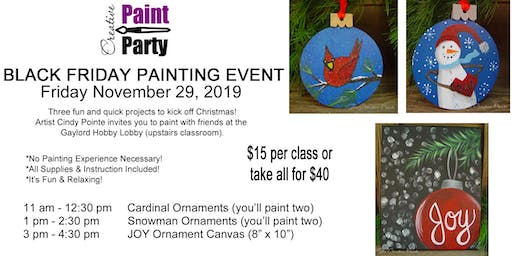 Black Friday Painting Event -- Joy Ornament Canvas  3 pm