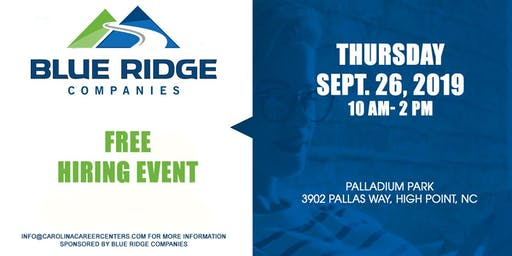 Free Hiring Event. Blue Ridge Companies
