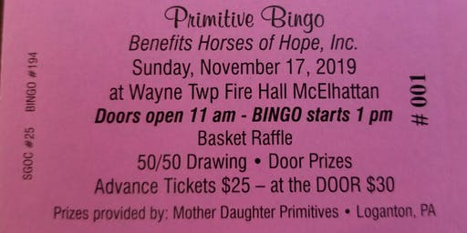Horses of Hope Primitive Bingo