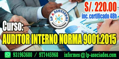 AUDITOR INTERNO Norma ISO 9001:2015 (S/.220.00)