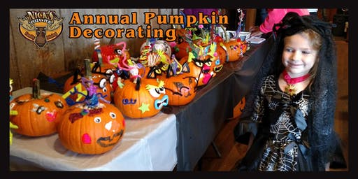 Nick's Pizza & Pub's 6th Annual Pumpkin Decorating on October 26 & 27!