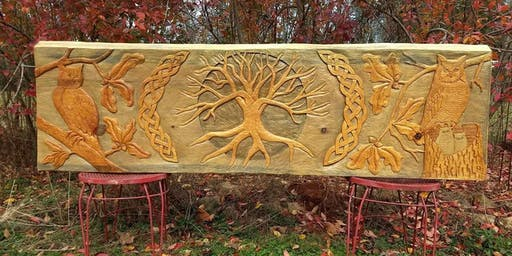 Celtic Knotwork Relief Woodcarving with Artist, Christina White