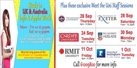 Study in UK & Australia & NZ Unis: Info & Appln Week tickets