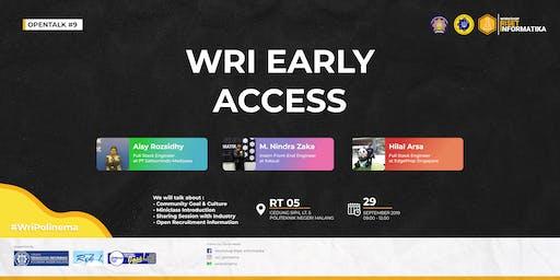 Opentalk #9 WRI Early Access