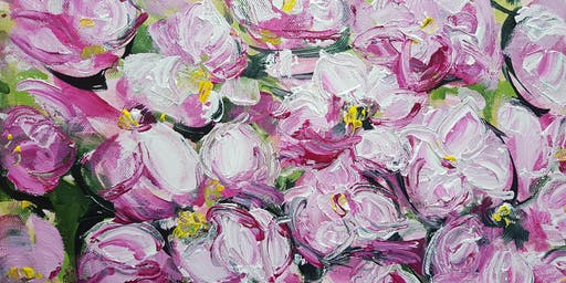 Large Flower acrylics  workshop with Kathy Karas
