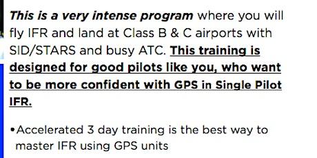 3 Day Mastering Single-Pilot IFR Program - Jan 2020 tickets